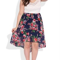 Plus Size High Low Dress with Floral Print Skirt