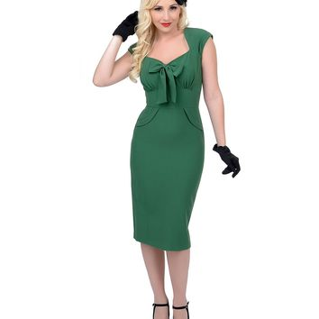Stop Staring! 1940s Style Green Fitted Karlie Wiggle Dress | Unique Vintage