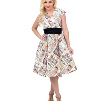 1950s Style Cream Day of the Dead Swing Dress - New Arrivals! | Unique Vintage