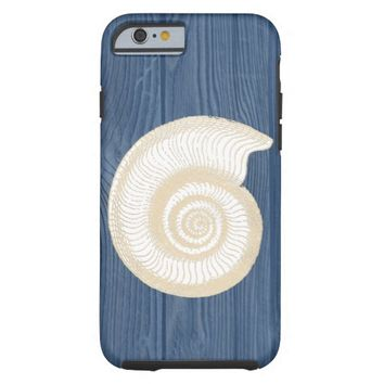 Seashell Vintage Blue Wood Beach iPhone 6 Case