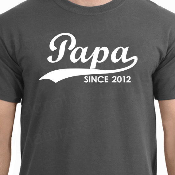 PAPA Since 2012 Personalized with Any Year T-Shirt Father&#x27;s Day Gift More Colors S-2XL
