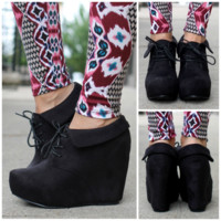 So Posh Wedge Bootie - Black - BLACK /