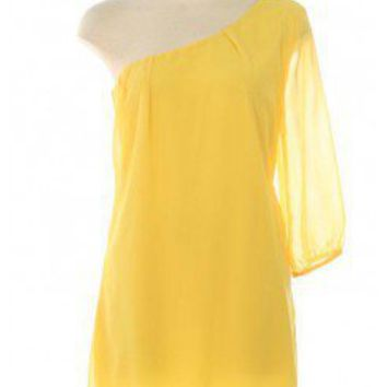 YELLOW LOVELY CHIFFON DRESS WITH ONE SHOULDER WITH 3/4 SLEEVE LENGTH @ KiwiLook fashion