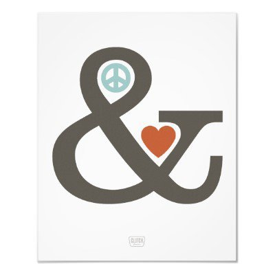 Peace & Love Wall Art Print from Zazzle.com