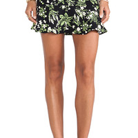 Ladakh Fluro Floral Skirt in Black