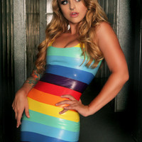 Stripe Rainbow Latex Dress