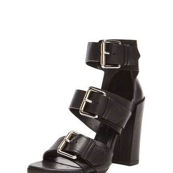 Buckle Leather Heels in Black