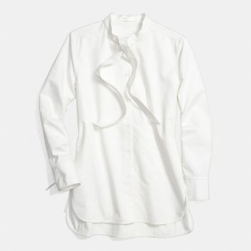 WHITE COTTON TIE COLLAR SHIRT
