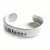 Child Baby Metal Hand Stamped Cuff Bracelet Personalized Aluminum Children Jewelry