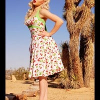 Daisy Swing Dress in White Cherry Print | Pinup Girl Clothing