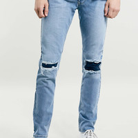 LIGHT WASH RIP AND REPAIR STRETCH SKINNY JEANS - TOPMAN USA