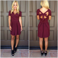 Nora Bow Back Dress - BURGUNDY