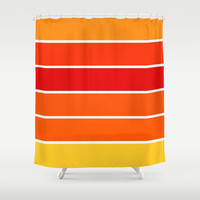 Red Orange Yellow Sunset Stripes Shower Curtain by 2sweet4words Designs | Society6