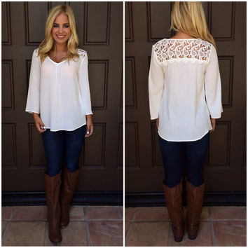 Sky's The Limit Lace Top - WHITE