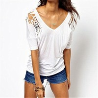 White Short Sleeve Top with Cut Out Detail