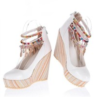 Women's Beads Wedge Sandals with Stripes Detail