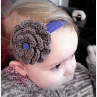 Crochet Flower Headband Taupe And P.. on Luulla