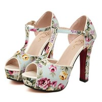 Women's T Bar Floral Print Strap Peep Toe Heeled Sandals