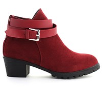 Strapped Faux Suede Ankle Boots in Wine