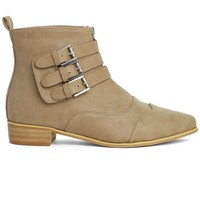 Buckled Point Toe Ankle Boots in Tan