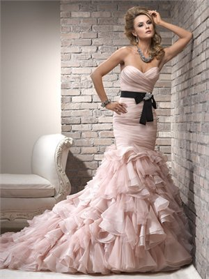Gorgeous mermaid straps sweetheart with sash sweep train satin pink fall wedding dresses 2012 BAML0061