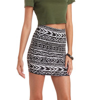 Tribal Print Bodycon Mini Skirt by Charlotte Russe - Black/Ivory