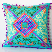 20x20 Inches Minty Green Turkish Traditional Decorative  Pillow, Bohemian Cushion Cover, Embroidered Pillow,  Pillow Case, Boho Chic Pillow