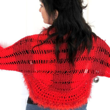 Shades of red knit shrug, hand knit sweater, cozy knit outerwear