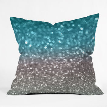 Lisa Argyropoulos Aqua And Gray Throw Pillow