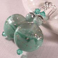 Frosted Teal Glass, Amazonite and Crystal Sterling Earrings