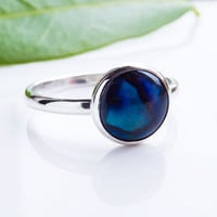 Paua Shell Ring - Stacking Ring - Sterling SIlver