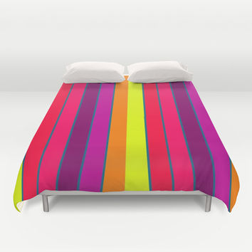 Long Happy Stripes #2 co.1 Duvet Cover by 2sweet4words Designs | Society6