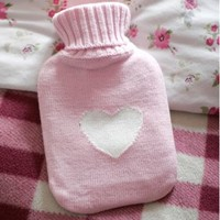 Heart Knitted Pale Pink Mini Hot Water Bottle