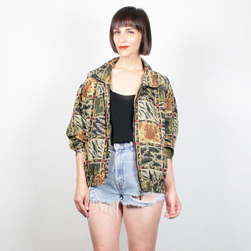 Vintage Silk BOMBER Jacket 1980s Leopard Print Animal Print Tiger Cheetah Windbreaker Jacket Track Jacket Lightweight Sporty Slouch M Medium