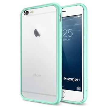 iPhone 6 Case, Spigen® [AIR CUSHION] iPhone 6 (4.7) Case Bumper **NEW** [Ultra Hybrid Series] [Mint] Air Cushion Technology Corners + Bumper Case with Clear Back Panel - ECO-Friendly Packaging - Bumper Case for iPhone 6 (4.7) (2014) - Mint (SGP11021)