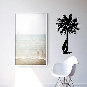 Palm Tree and Surfboard Wall Decal - Gift Idea - Home Decor - Living Room - Bedroom - Kids Room - High Quality Vinyl Graphic