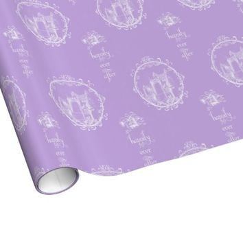 Fairy Tale Castle Happily Lavender Wrapping Paper