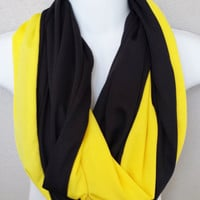 Yellow & Black Football Team Colors Infinity Scarf Womens Pittsburgh Colors Color Blocked Fall Scarf Iowa Team Scarf