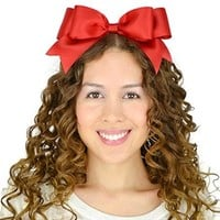 Sweet in the City Red Hair Bow Headband Satin Ribbon Double Layer Sweet Lolita Oversize Big Huge Hairband Accessories