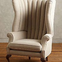 Linen English Fireside Chair by Anthropologie Neutral One Size Furniture