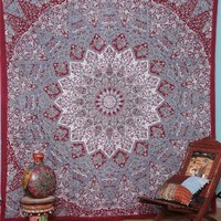 Indian Prismatic Hippy Bedspread Floral Print Ethnic Elaphant Tapestry
