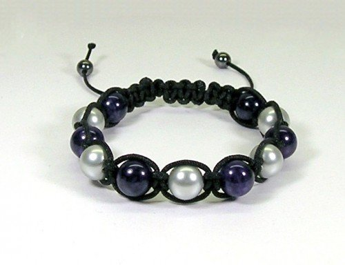 Macrame Bracelet with Purple Dragon Vein and Silver Pearls