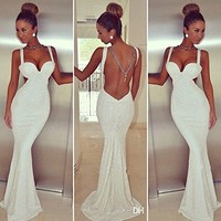 Leshery Women's Sexy Cocktail Clubwear Club Lace Bodycon Dress Bandage Clothing Party White Backless Lace Long Dress (S)