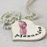 BeLoved necklace - personalized hand stamped sterling silver necklace - heart birthstone necklace