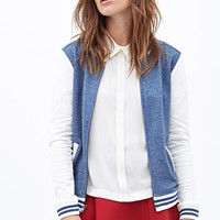 Heathered Knit Varsity Jacket