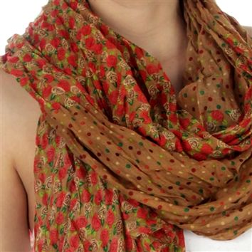 Flower Print Polka Dot Section Scarf in Tan