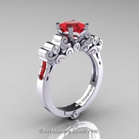 Classic Armenian 14K White Gold 1.0 Ct Princess Rubies Diamond Solitaire Wedding Ring R608-14KWGDR