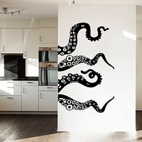 Wall Decal Vinyl Sticker Decals Art Home Decor Murals Decal Octopus Tentacles Fish Deep Sea Ocean Animals Bathroom Bedroom Dorm Decals AN3