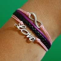 Infinity Wish Love Bracelet silver bracelet pink wax cords,braided black leather bracelet
