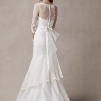 Chantilly Lace Trumpet Gown with Illusion Sleeves - David's Bridal